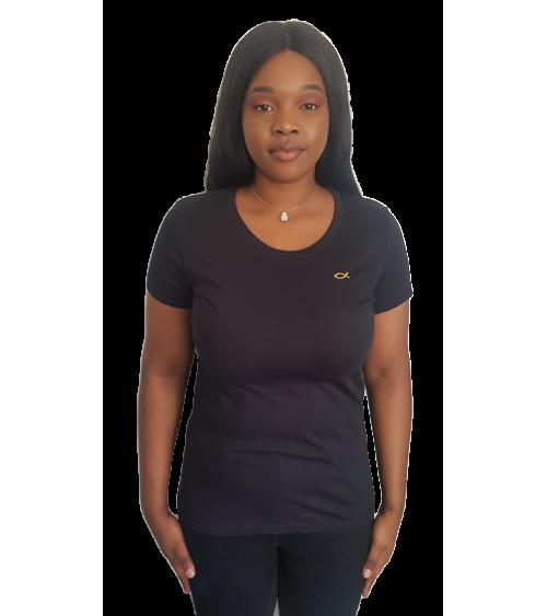 Dames Zwarte T-shirt Ichthus goud logo | Fair wear €28,95 Home
