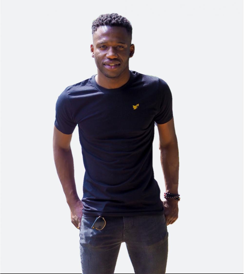 Heren Zwarte T-shirt Duif goud logo | Fair wear €28,95 Home