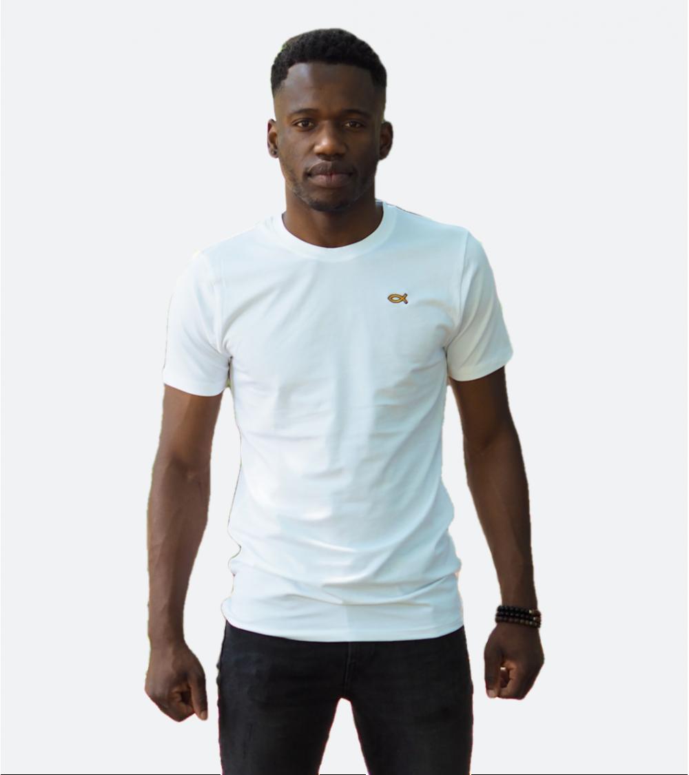 Heren Wit T-shirt Ichthus logo goud | Fair wear €28,95 Home
