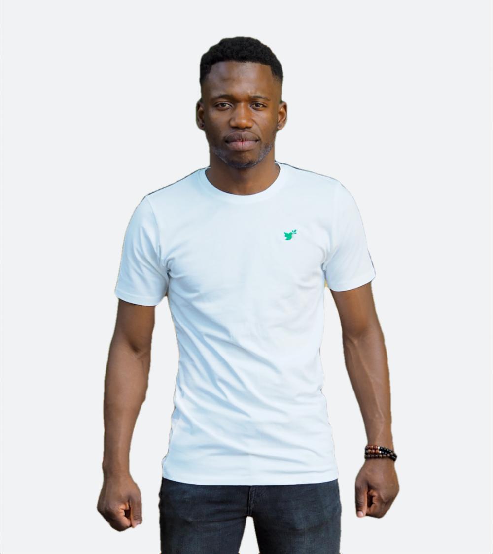 Heren Witte T-shirt Duif logo | Fair wear €28,95 Home