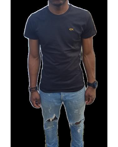 Heren Zwarte T-shirt logo Ichthus goud | Fair wear €28,95 Home
