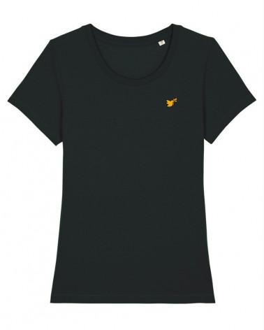 Dames T-shirt Zwart Duif logo goud | Fair wear €28,95 Home