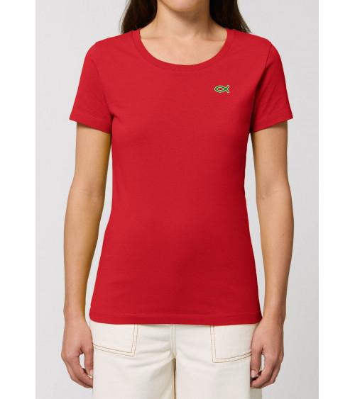Dames Ichthus logo Rood T-shirt | Fair wear €32,95 Home