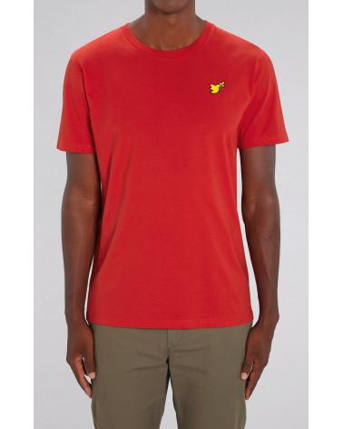 Heren Rode T-shirt Duif goud symbool | Fair wear €32,95 Home
