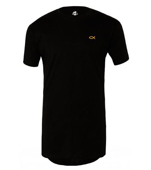 Heren Lange Zwart T-shirt Goude Ichthus €34,95 Home
