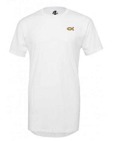 Heren Lange Wit T-shirt Goude Ichthus €34,95 Home