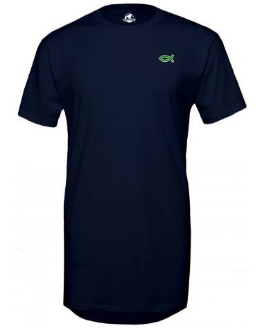Heren Lange navy blauwe T-shirt Ichthus logo €34,95 Home