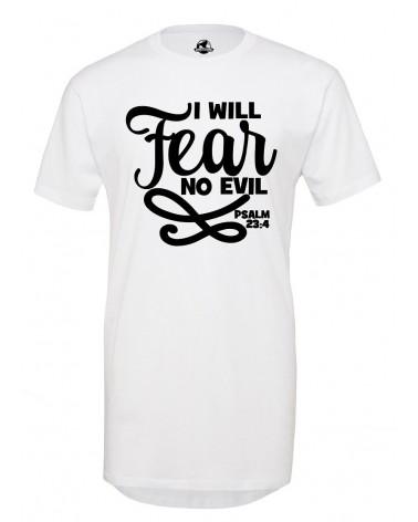 Christian T-shirt | Men's No Fear Long T-Shirt White