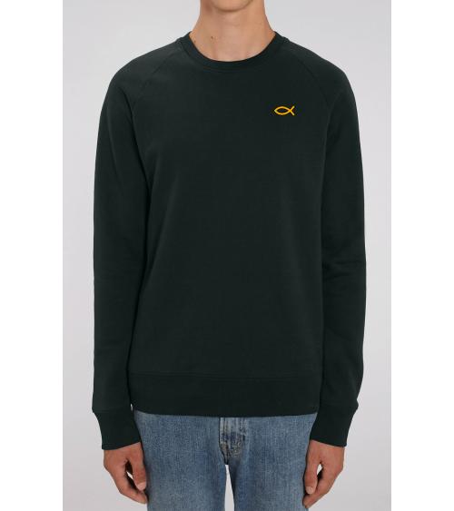 Heren zwarte sweater Ichthus logo goud | Fair wear €42,95 Home