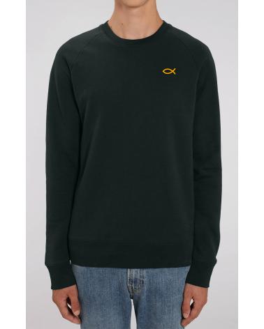 Heren zwarte sweater Ichthus logo goud   Fair wear €42,95 Home
