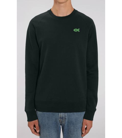 Heren zwarte sweater Ichthus logo | Fair wear €42,95 Home