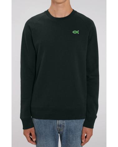 Men's black sweater Ichthus logo | Fair wear