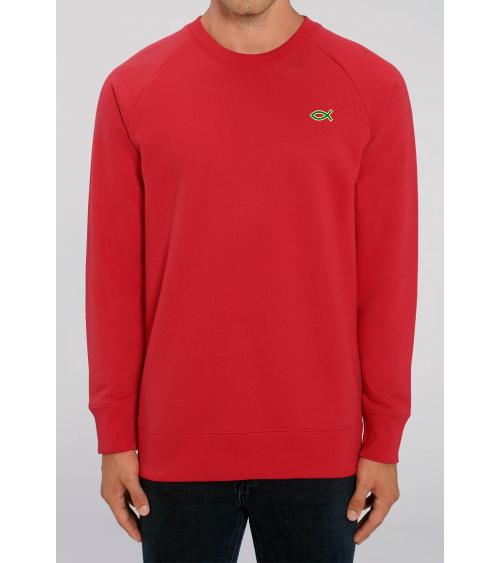 Heren rode sweater Ichthus logo | Fair wear €42,95 Home