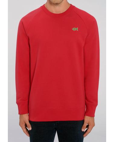 Men's red sweater Ichthus logo   Fair wear