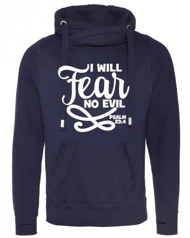 Heren Cross neck navy hoodie No Fear €44,95 Home